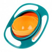 Детская тарелка-неваляшка Universal Gyro Bowl Голубой с оранжевым